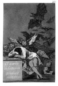 Der Traum der Vernunft gebiert Ungeheuer, Francisco Goya, 1797/98, Aquatinta und Ätzradierung; Quelle